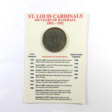St. Louis Cardinals Centennial 1892-1992 Bronze Coin 100 Years of Baseball