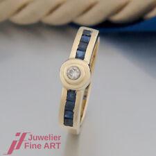 Schnäppchen: RING mit Brillant und 8 Saphiren(Safir) - 18K/750 Gelbgold