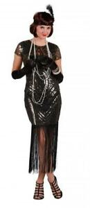 20er 30er Jahre Kleid Kostüm Flapper Charleston Pailletten Fransen Variete Feder