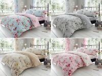 Birdie Blossom Floral Quilt Cover Bedding Set Single Double King With Pillowcase