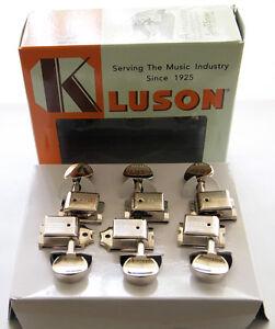 Genuine Kluson 6 In-Line Tuners / Machine Heads - Nickel (for Strat Tele)
