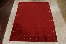 Contemporary Red Gabbeh Solid Hand-Knotted Area Rug Modern Oriental Carpet 9x12