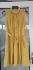 HOBBS 'MICHELLE' DRESS MUSTARD YELLOW 100% LINEN SIZE 12