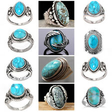 Vintage 925 Silver Plated Turquoise Gems Ring Wedding Bridal Party Rings Jewelry