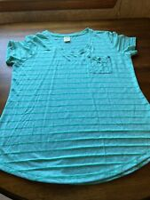 Faded Glory Misses LARGE 12/14 Pocket Shirt T-shirt Light Green/Green Stripes
