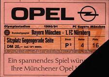 Ticket BL 90/91 FC Bayern München - 1. FC Nürnberg, Sitzplatz Gegengerade Seite