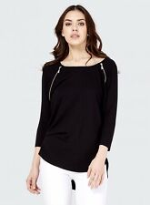 Select Black Zip Detail Slouch Top Size 10