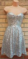 ASOS SILVER SEQUIN ALL BEADED SEQUINS BANDEAU SKATER PARTY A LINE DRESS 8 S