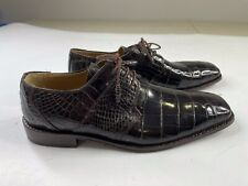 David Eden Genuine Alligator Brown Leather Dress Shoes Oxford Size 9.5