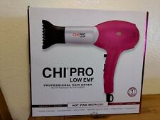 New! CHI Pro Low Emf Hair Dryer w/ Nozzle & Diffuser Hot Pink Metallic NIB