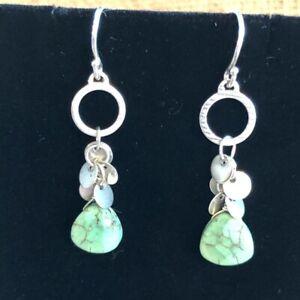 Silpada Howlite Sterling Silver Fresh Glow Dangling Hook Wire Earrings W2365