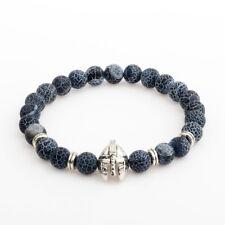 Men's Black Lava Stone Silver Spartan Helmet Bracelet Beaded Bracelet Cheapest