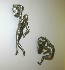 Silver Rock Climbing Men Wall Decoration Home Art Mounted Unique Statues Figures