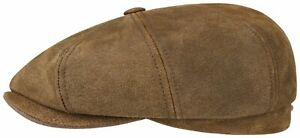 Stetson Leather Bakerboy Cap Hat Hatteras Burney 6 Braun Antique New Trend