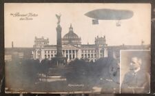 1908 Berlin Germany RPPC Cover To Gutenberg Zeppelin Parseval Balloon
