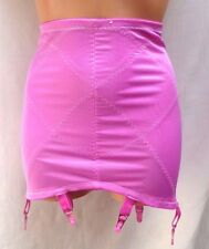 Vintage Girdle Hot Pink Open Bottom 6 Metal Garters Tight Stretchy Silky L 30