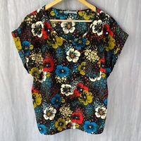 M&S Black Multi Floral SIZE 16 UK Boxy Short Sleeve T-Shirt Top