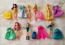 Disney Princess Polly Pocket Dolls with Fabric Cloth Clothes Dresses