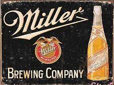 Retro VINTAGE TIN metallo segno Miller Brewing Company bottiglia di birra pub bar American
