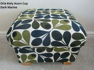 Storage Footstool Orla Kiely Acorn Cup Dark Marine Fabric Pouffe Footstall Green