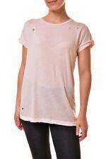 Wildfox Damen Pinhole Distressed Weicher Baumwolle T-Shirt Pink XS UVP70£ BCF810