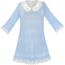 Sunny Fashion Girls Dress 3/4 Sleeve White Collar Lace Blue Dress Age 5-12 Years