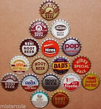 Vintage soda pop bottle caps ROOT BEER FLAVORS Lot of 17 different new old stock