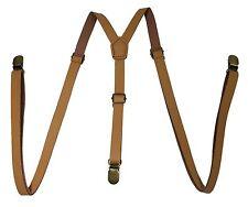 Light Brown Leather Vintage Elastic Adjustable Y-shape Gold Clips-on  Suspender
