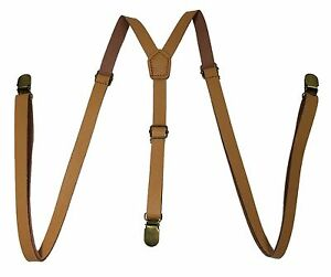 Lt Brown Faux Leather Vintage Skinny Adjustable Y-shape Gold Clips-on  Suspender