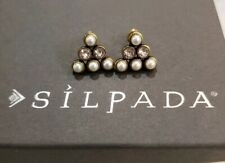 "New Silpada K&R Brass Crystal Pearl ""PYRAMID PEARL"" Post Stud Earrings KRP0102"