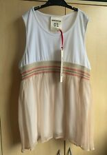 BNWT Semicouture 01 Liviana White Cotton Top Size S / 40 Sleeveless Embroidered