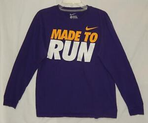 "NIKE Men's ""Made To Run"" Regular Fit Purple Cotton L/S T-Shirt Size Large"