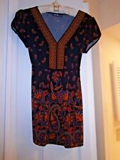 Apt 9 Teal BLACK PAISLEY Baby Doll Top~Back tie~Travelers Knit~Empire bust~Small