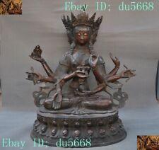 Rare Tibet Buddhism Bronze 3 Head 8 Arms Namgyalma&Ushnishavijaya Buddha Statue