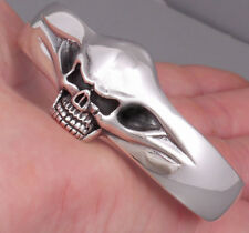SHINY SKULL 925 STERLING SOLID SILVER MENS / WOMENS BIKER BRACELET BANGLE CUFF