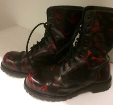Gorgeous! Black Leather Underground Boots Skull & Crossbones Biker Rocker Goth 6