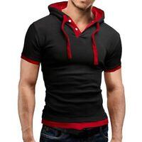 Fit Hoodies Hooded Tops Muscle Slim Tee Sleeve Short Shirts T-shirt Men's Casual
