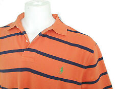 NEW Polo Ralph Lauren Polo Shirt!  L  *Orange with Navy Stripes*   *Mesh Cotton*