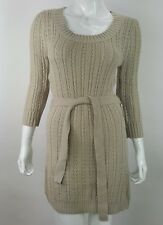 Red Paint Junior Medium Oatmeal Tan Brown Belted Knit Sweater Mini Dress NWT