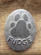 Personalised hand carved paw print, name into stone, pet memorial, dog, cat
