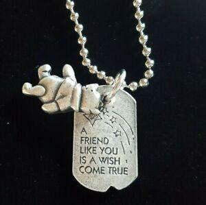 "DISNEY VTG WINNIE THE POOH FRIENDSHIP NECKLACE Pendant 18""  NWT Friends Mothers"