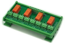 DIN Rail Mount Passive Bistable/Latching 4 DPDT 8A Power Relay Module, 24V Ver.G