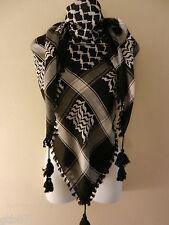 Black Arab Shemagh Head Scarf Neck Wrap Authentic Cottton Palestine Arafat BK-BK