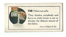 Old Advertising Card FAB Flakes Soap Laundry Detergent For Clothes Colgate & Co
