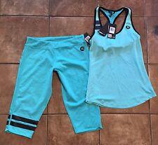 Hurley Nike Dri-Fit Workout Outfit Sports Bra & Capris Sz L Blue
