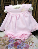 NWT Will'beth Pink Open Back Ruffle 2pc Dress with Bloomers Preemie Baby Girls