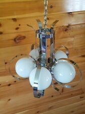 Vtg MCM Atomic Retro Space Age Chrome 5 Bulb Chandelier Light Fixture
