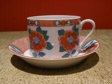 Fitz & Floyd Camellia Flat Cup & Saucer/Dessert Bowl Imari Style Rust Red EUC