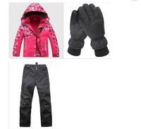 D19 Kids Red Ski Snowboard Winter Waterproof Jacket Pants Gloves S M L XL XXL