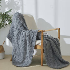 Gray Knitted Blanket Home Throws Couch Sofa Cover Office Nap Bed Sleep Blankets